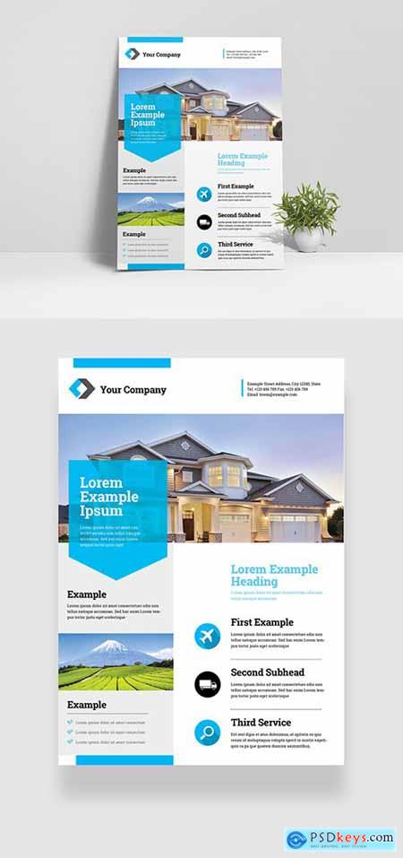 Business Flyer Layout with Teal Accents 334206186