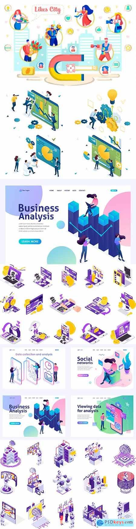 Flat isometric vector 3D concept illustration 61