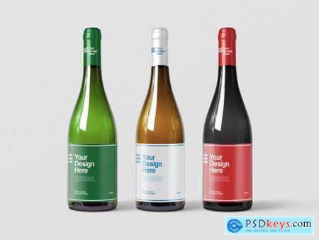 3 Wine Bottles Packaging Design Mockup 277539722