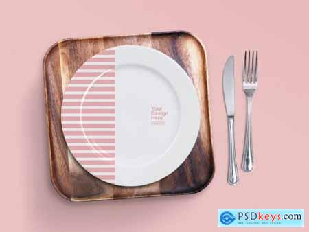 Top View Mockup of Dinner Plate and Wood Tray 267647798