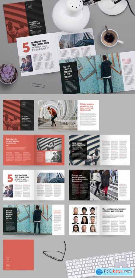 Square Brochure Layout with Red Accents 228405711