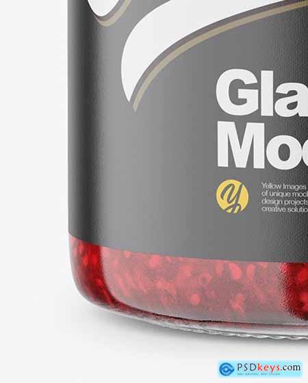 Glass Jar with Raspberry Jam Mockup 58429
