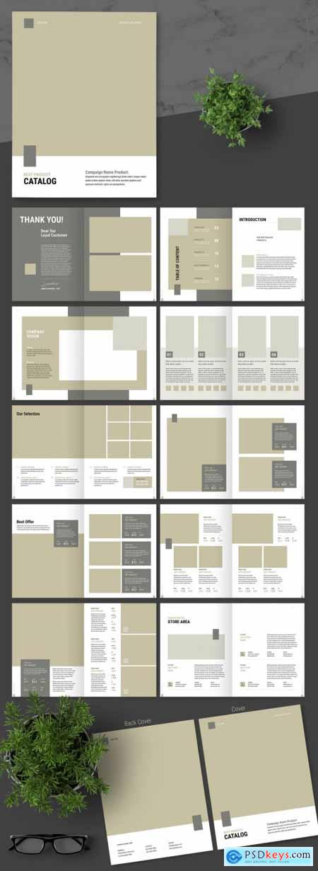 Product Catalog Layout with Brown Accent 339992199