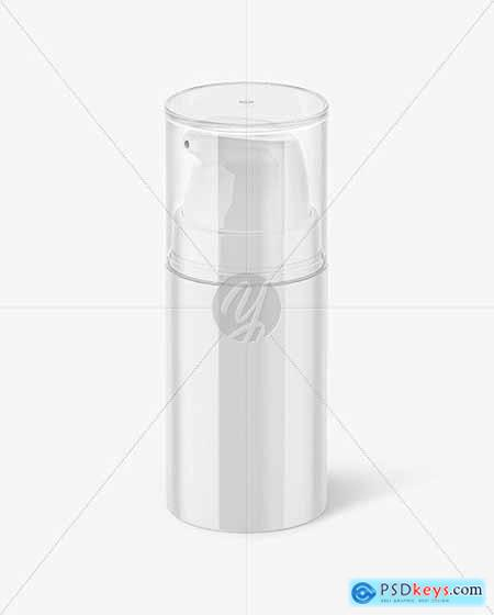 Glossy Cosmetic Bottle with Pump Mockup 57923