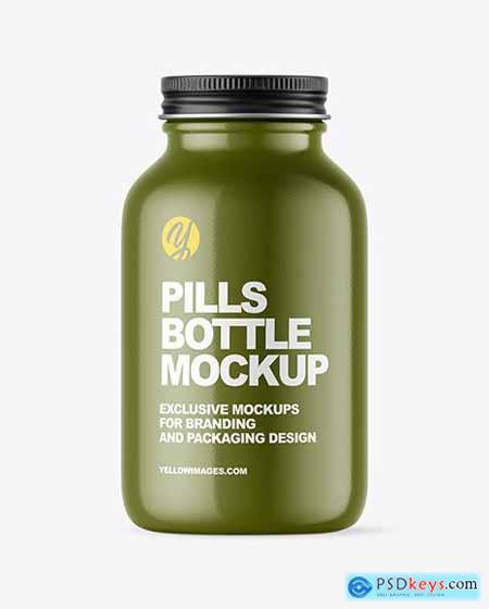 Glossy Pills Bottle Mockup 58838