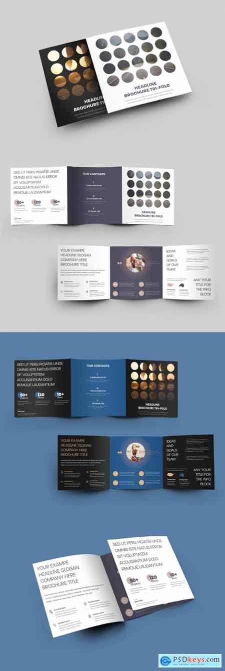 Square Tri-Fold Brochure with Round Elements Design 346981098