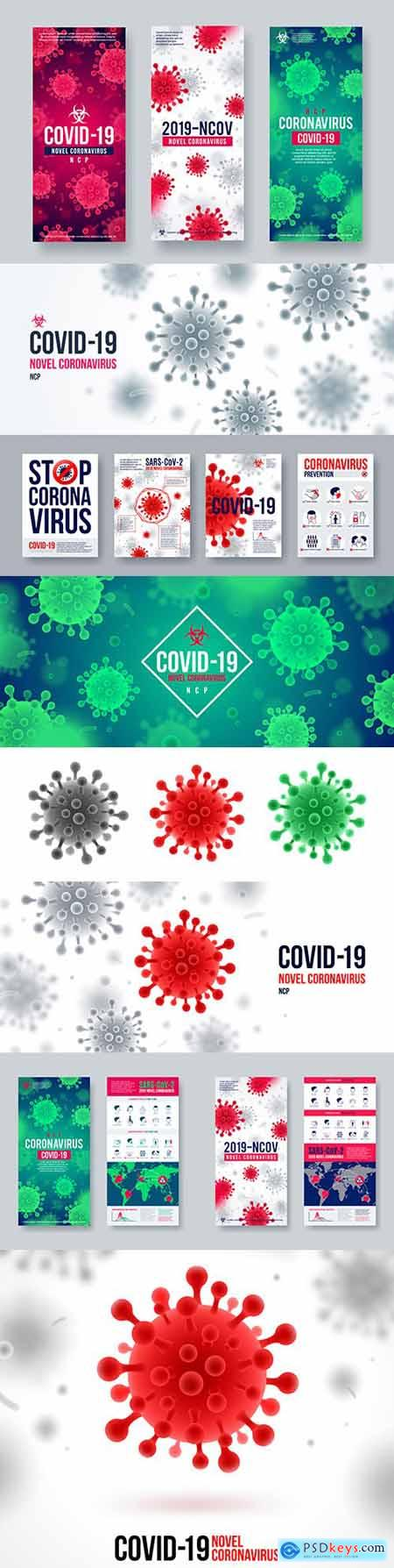 Coronavirus banner infographic elements and background with virus