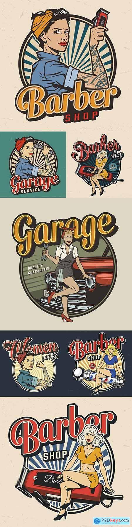 Vintage barbershop, garage service and car repair colorful label