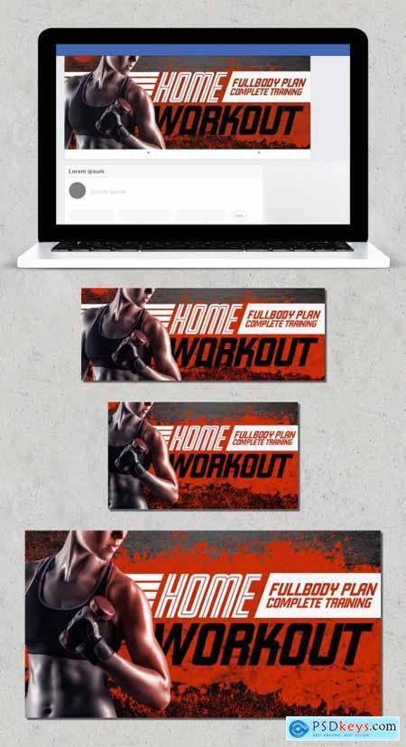 Fitness Home Workout Social Media Banner Layout Set 346920816