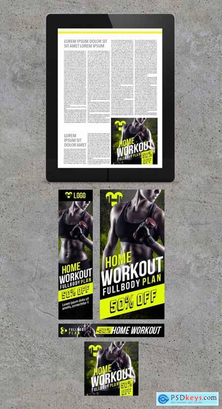 Sport Workout Plan Banner Layout Set 346920561