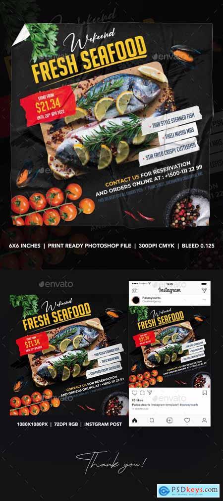Seafood Square Flyer & Instagram Post 26340263