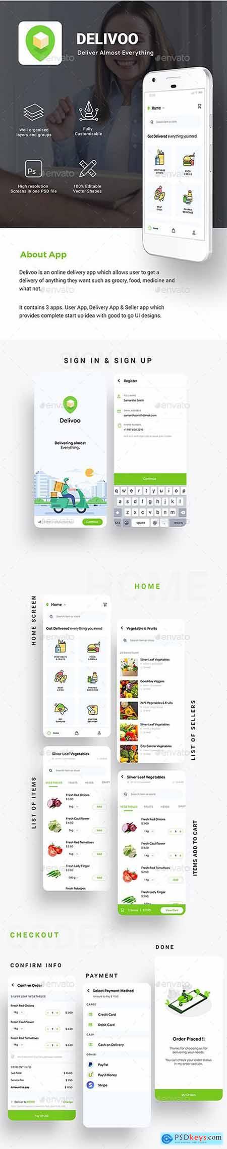 Moden Custom Delivery for Food, Grocery, Medicine etc App UI - Delivoo 26442059