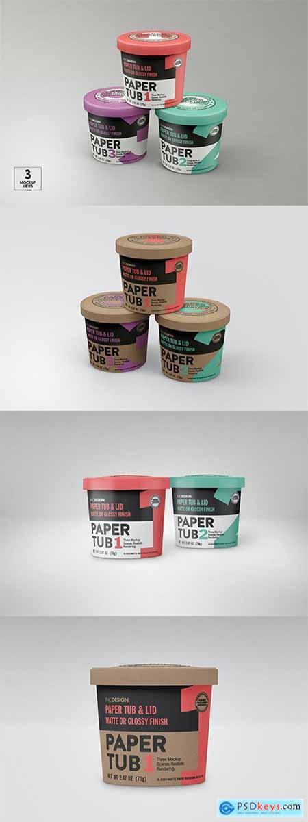 Paper Tub with Lid Packaging Mockup