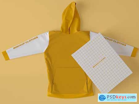 Top View of Hoodie Sweatshirt with Box Mockup 346305167