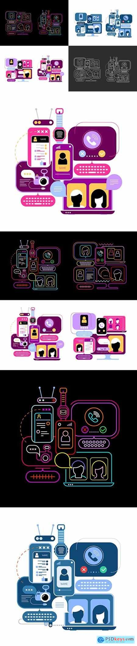 10 options of an Online Chatting Vector Design