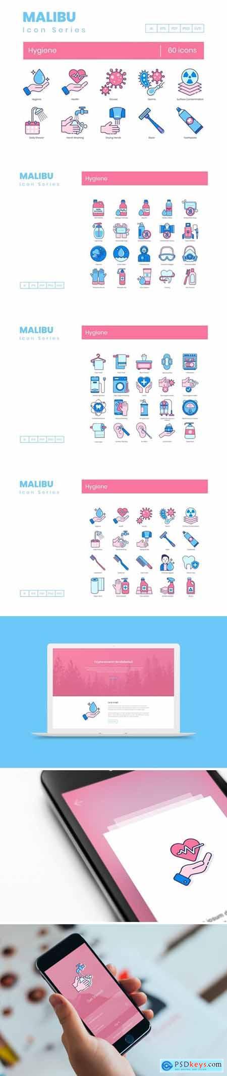 60 Hygiene Icons - Malibu Series