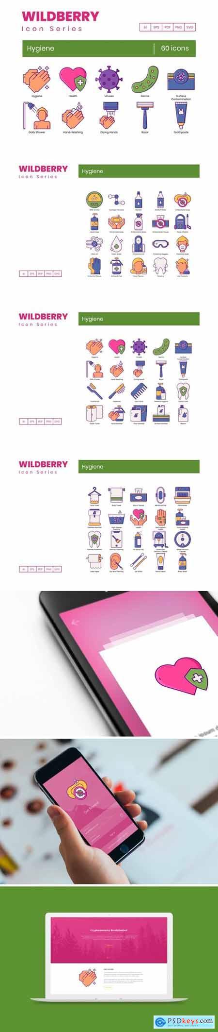 60 Hygiene Icons - Wildberry Series