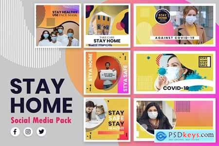 Stay Home Abstract Style Social Media Template
