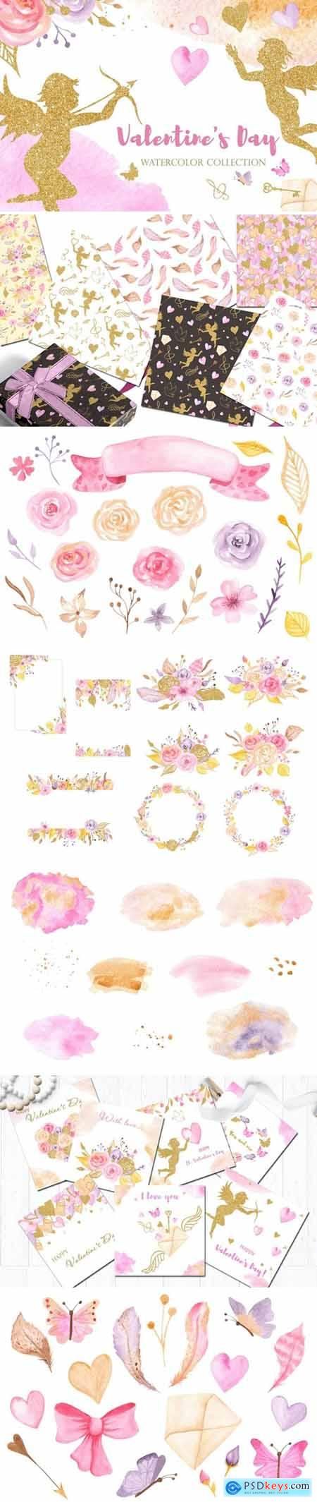 Watercolor Valentines Day Pink and Gold