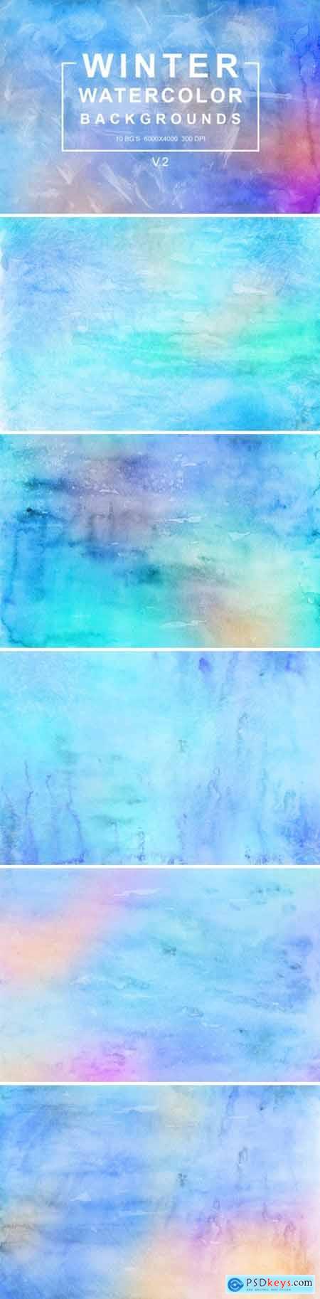 Winter Watercolor Backgrounds Vol.2