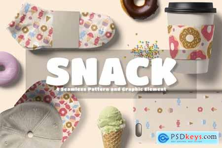 Snack Seamless Pattern and Graphic Element