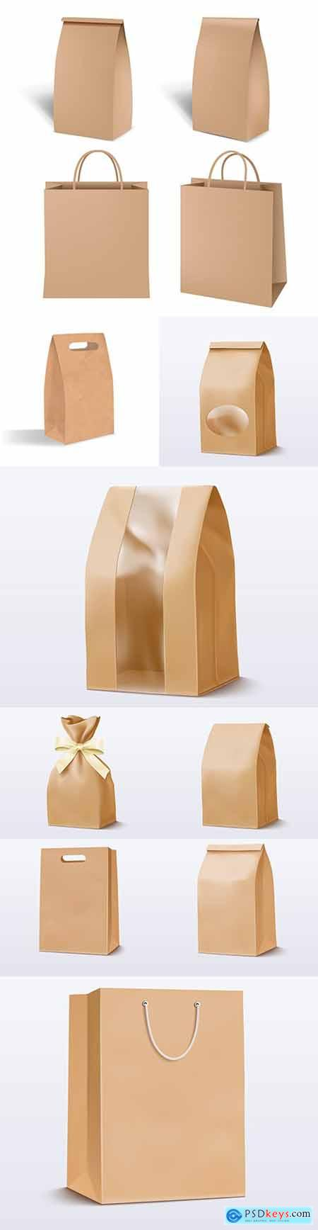 Paper brown bag for shopping package template illustration