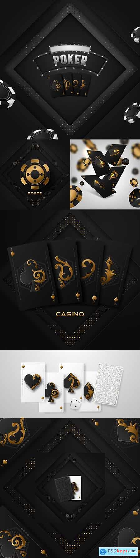 Poker tournament four playing cards with game chips