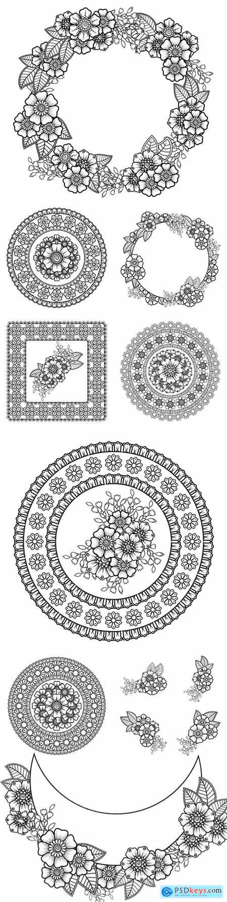 Mendy flower decoration in ethnic and oriental style ornament