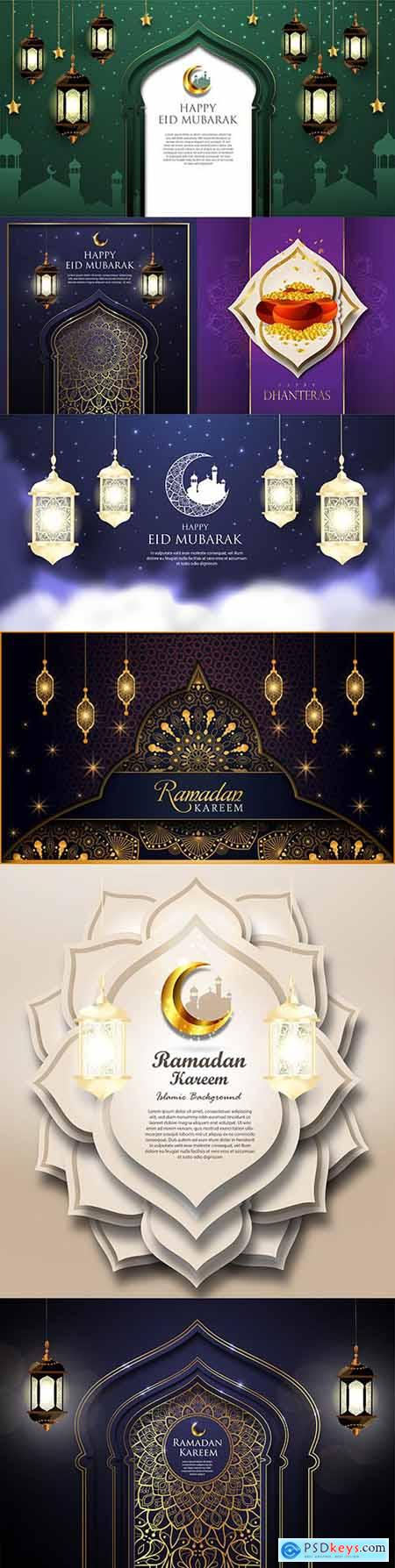 Ramadan Kareem and Eid Mubarak background Islamic 3