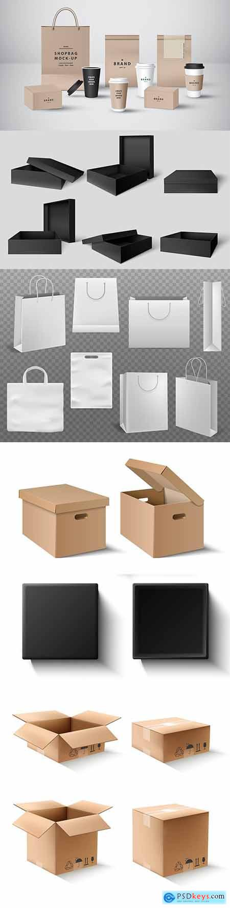Cardboard box and packages for purchase of goods and products