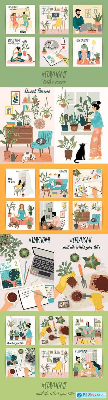 Stay at home, cosy interior room flat design illustrations