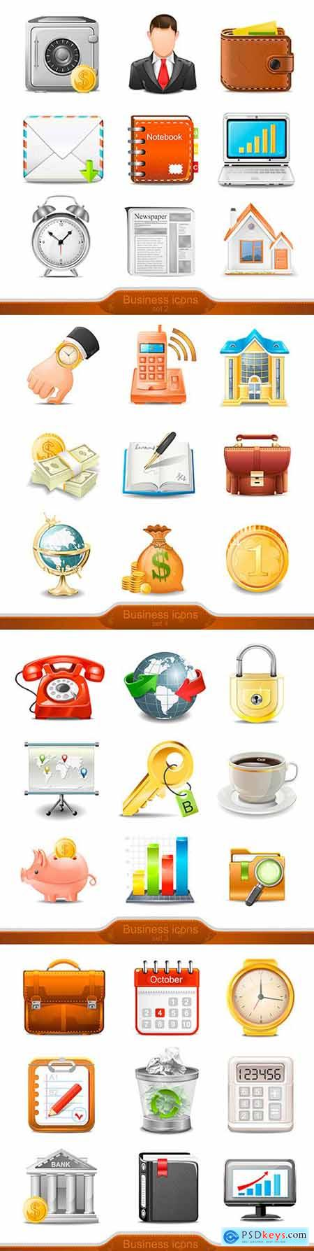 Business and men s accessories for business set of icons