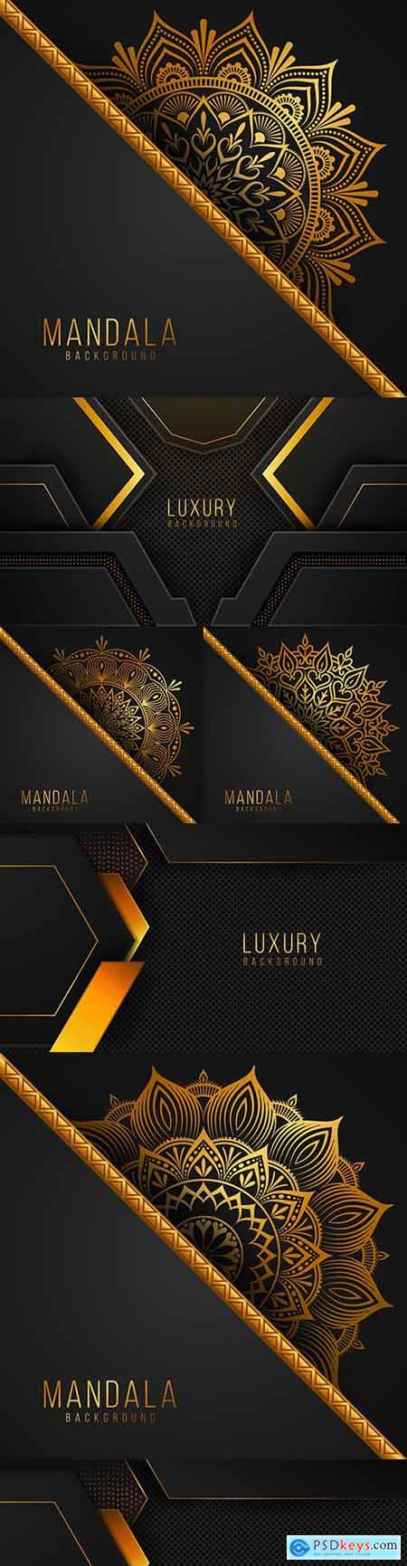 Luxurious mandala background with golden floral pattern