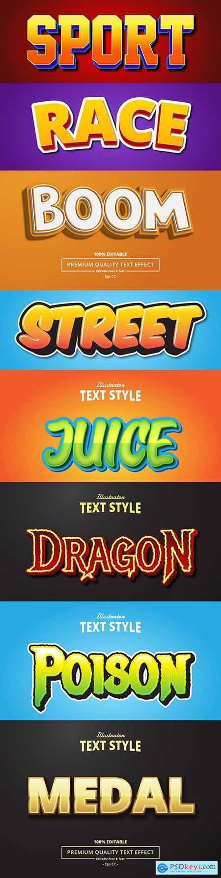 Editable font effect text collection illustration design 101