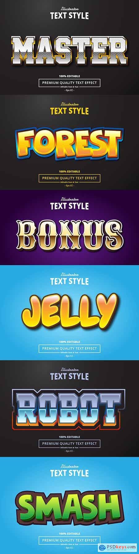 Editable font effect text collection illustration design 92