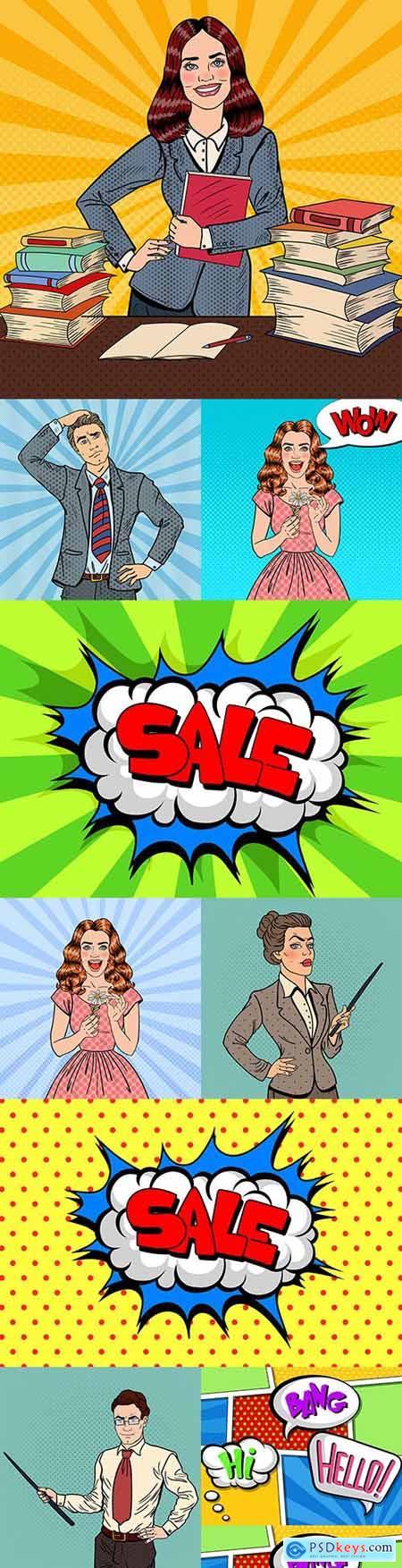 Man and woman comic speech bubble illustrations pop art 4