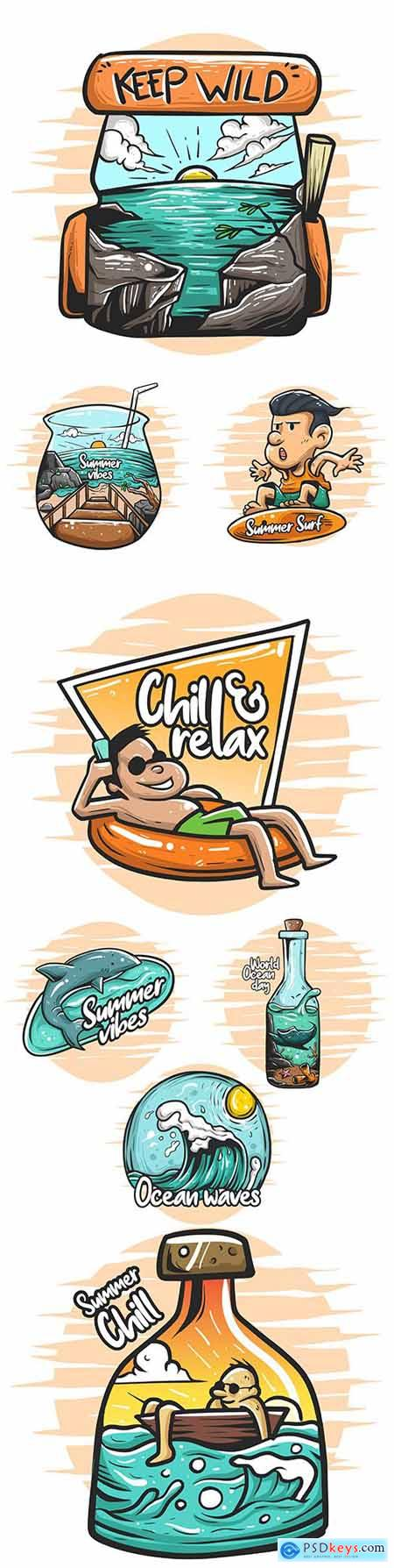 Summer holiday at sea comic painted illustrations