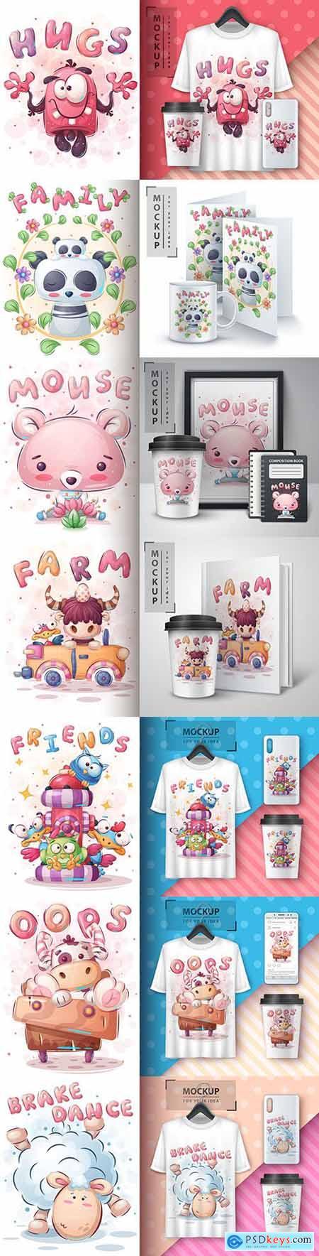 Funny illustration and merchandising mockup print t-shirt 17