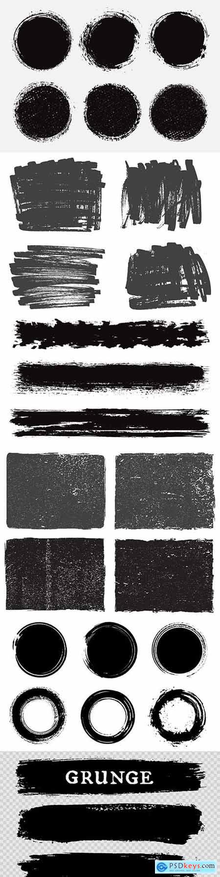Grunge textured black scratches collection elements 3
