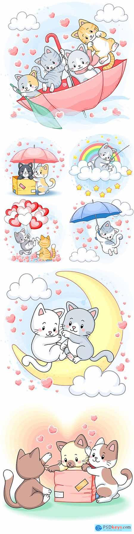 Nice funny kittens with umbrella and hearts illustration