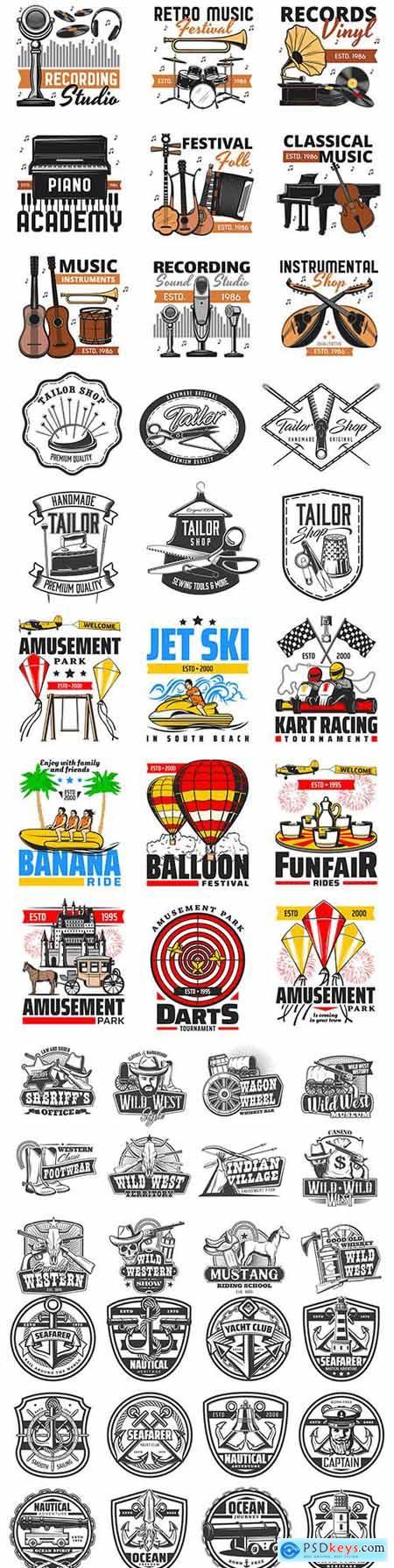 Wild West, amusement park and music festival design emblems