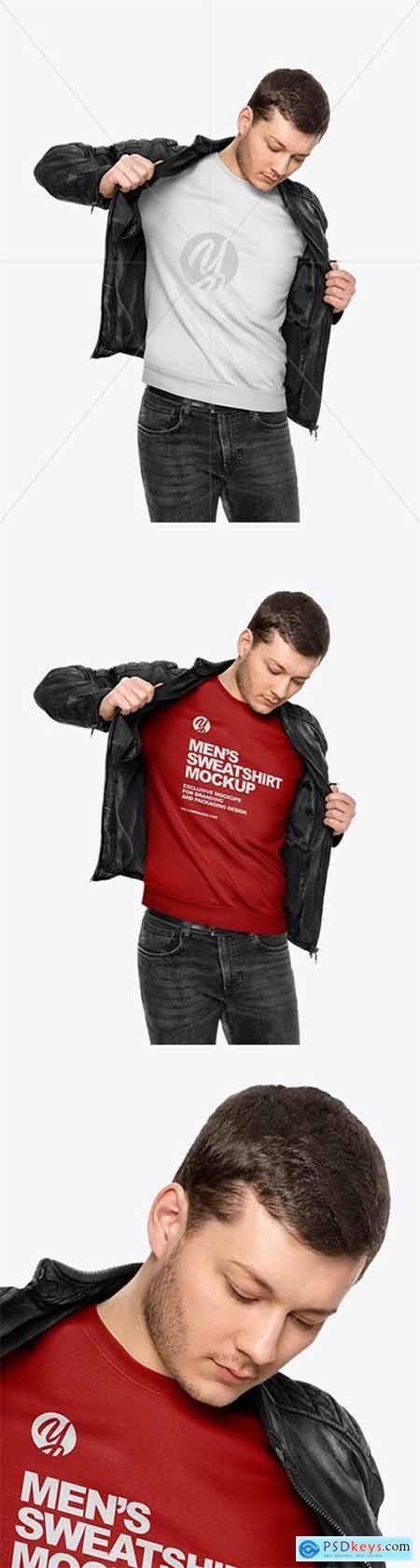 Man in a Sweatshirt and a Jacket Mockup 58455