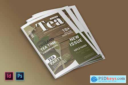 Tea and Dessert Magazine Cover Indesign Template