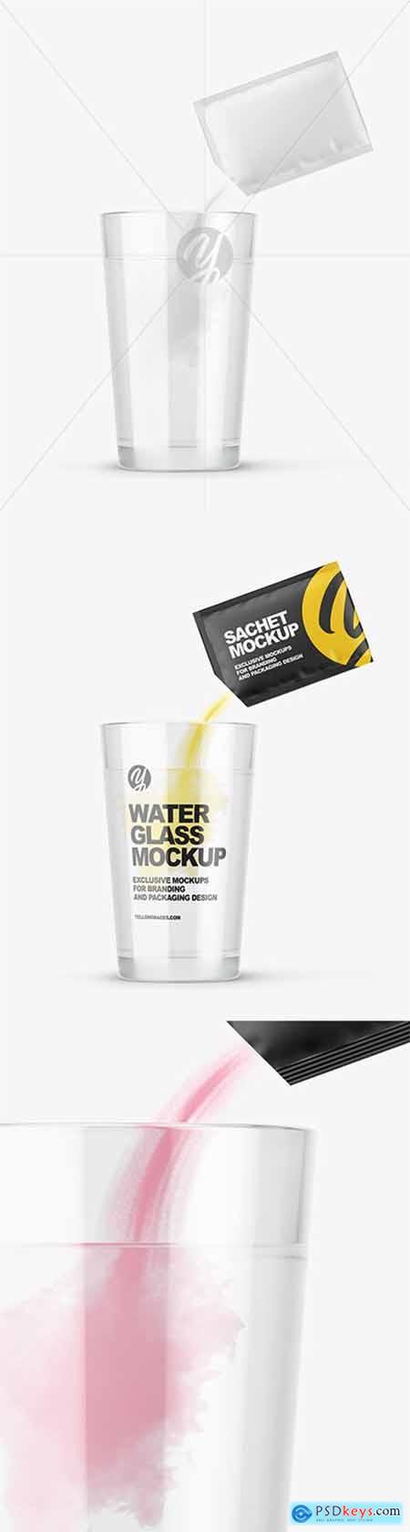 Sachet With Powder & Water Glass Mockup