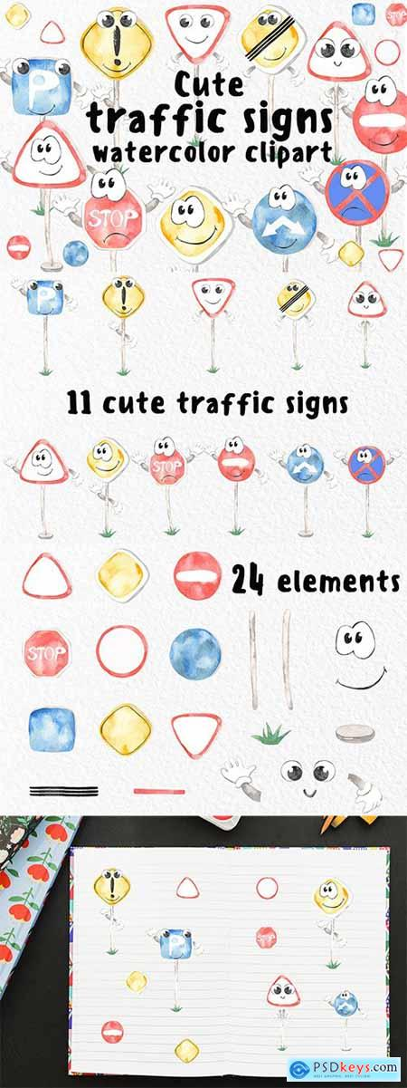 Watercolor Cute traffic signs Clipart