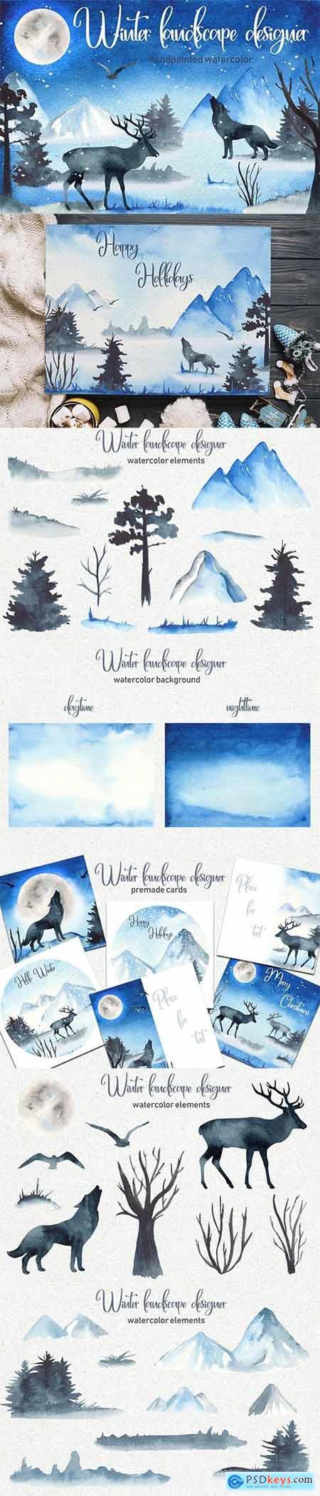 Watercolor Winter landscape designer