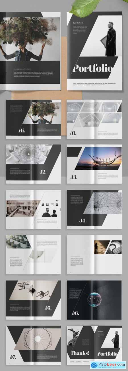 Portfolio Layout with Gray Accents 313866179