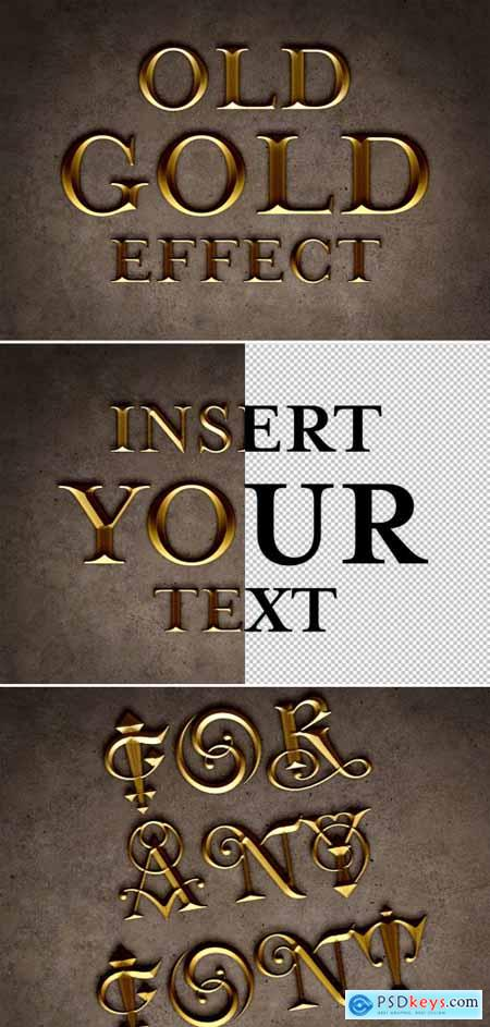 Old Gold Text Effect Mockup 315396286