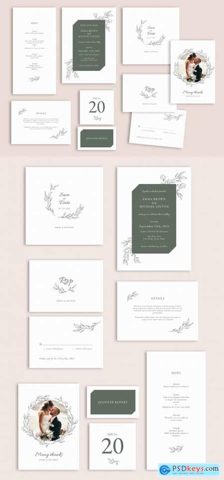 Wedding Suite Layout Set with Leaf Illustrations 315417775