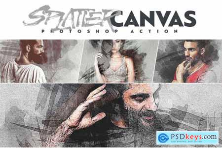 Splatter Canvas Photoshop Action 4626349